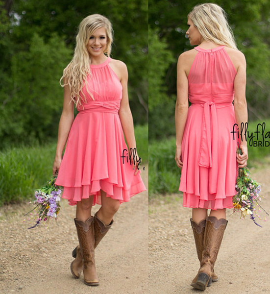 Coral Colored Bridesmaid Dresses Country Westen Ruched Chiffon Short Bridesmaid Dresses Knee Length maid of honor dresses with Cowboy Boots