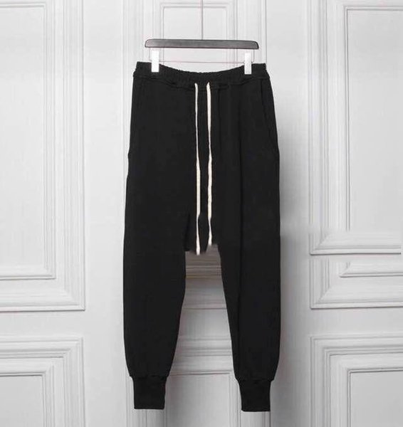wholesale-pantalons homme owens sweat hip hop tapered low drop crotch sweatpants black joggers harlem jumpsuit harem pants men