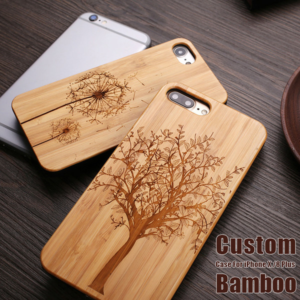 top popular For iPhone X Bamboo Custom Design Case Wood Case Shockproof For iphone 6 7 For Samsung Galaxy S9 S10 Plus Note 9 DHL 2019