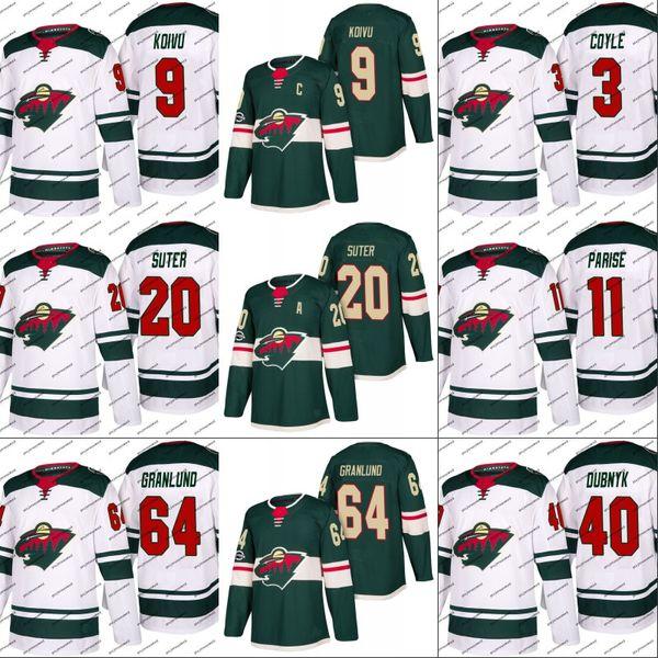 #22 Nino Niederreiter Minnesota Wild Jersey 3 Charlie Coyle 12 Eric Staal 64 Mikael Granlund Hockey Jerseys White Green Free Shipping