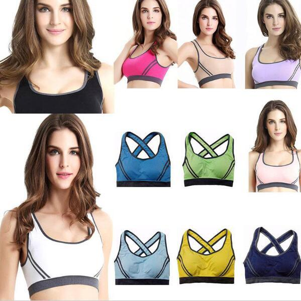 best selling Popular Women Padded Top Athletic Vest Gym Fitness Sports Bra Stretch Cotton Seamless Sexy sporty vest bras Free Shipping
