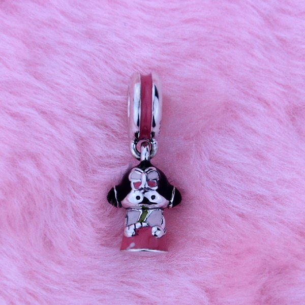 Loose beads Fits for Pandora Style Bracelets Authentic 925 Sterling Silver Beads Korean doll silver dangle with pink, black and green enamel