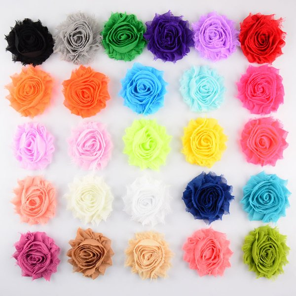 60pcs/lot 2.5 inch Shabby Chiffon Flower Kids Infant Headband Clothing DIY Aceessories Hair Clip Hair Sticks Photography Props 26 Colors
