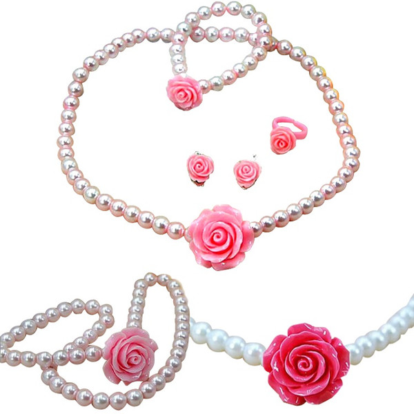 PrettyBaby Girls Necklace Bracelet Ring Ear Clips Sets Imitation Pearls Flower Shape Kids Children Jewelry 5 colors free shipping