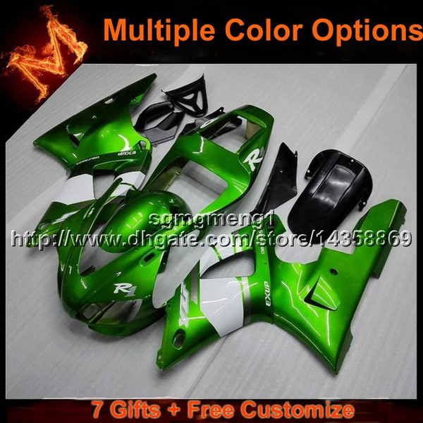 23colors+8Gifts GREEN motorcycle cowl for Yamaha YZF-R1 1998-1999 YZFR1 98 99 ABS Plastic Fairing bodywork