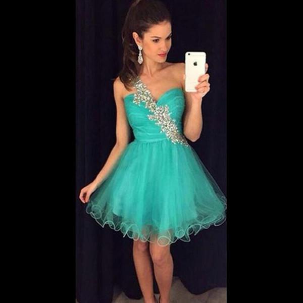 Compre Un Hombro Jade Vestidos De Fiesta Cortos 2017 Delicada Novia De Cristal Plisada De Tul Vestidos De Coctel Cortos Vestidos De Fiesta Vestidos De