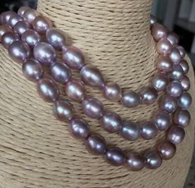Wholesale AAA Single Strands 12-13mm South Sea Lavender Baroque Pearl Necklace 38inch 14k Gold Clasp