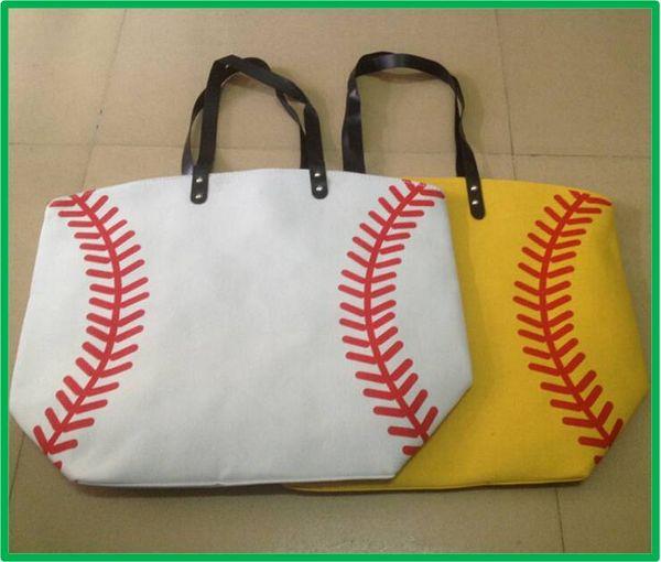 best selling yellow softball white baseball Jewelry Packaging Blanks Kids Cotton Canvas Sports Bags Baseball Softball Tote Bag for Children