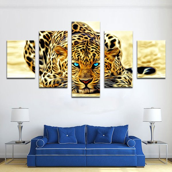5 Pieces Wall Art Painting Leopard Painting Animal Canvas Picture Art HD Print Painting The Pictures For Home Decor Unframed Ready to Hang