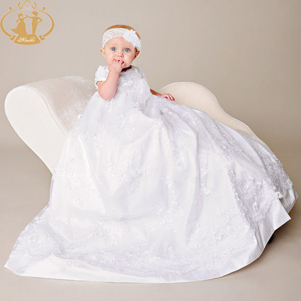 2018 Wholesale Nimble White Children Girl Baby Baptism Gowns Lace ...