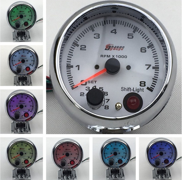 top popular 3.75'' 80mm 0~8000 Tachometer RPM Gauge 7 Colors Display White Face RPM Meter With RPM Shift Light Auto Gauge 2021