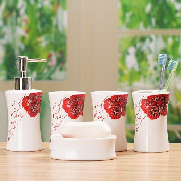 5pc Dispenser Toothbrush Holders Bathroom Accessories Set