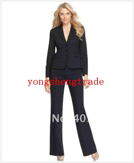 2017 Women Suit Black With Medium Stripes Suit Long Sleeve Jacket ...