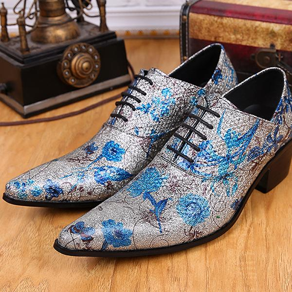Shine Fashion Tide Mens Shoes Flower Silver Male Shoes Party Dance Shoes Genuine Leather Shoes free shipping