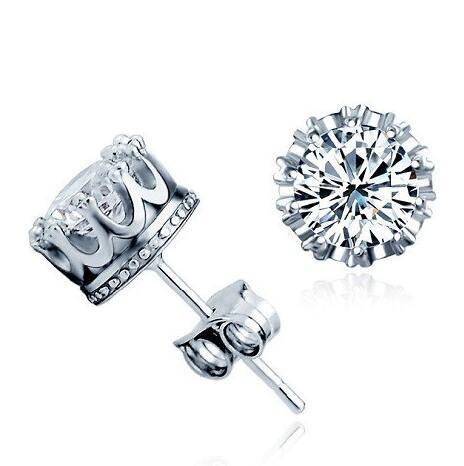Fashion 925 Sterling Silver Crown CZ Simulated Diamond Stud Earrings For Women Men Wedding Jewelry Gift Free Shipping
