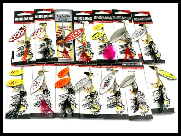 Brand New Metal Blades Spinner bait 14styles Mixed sets Copper Alloy Corrosion Spinnerbaits Fly Fishing Sequin lure