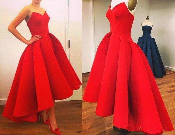 Red Long Ball Gowns Evening Dresses Formal Short Front Long Back