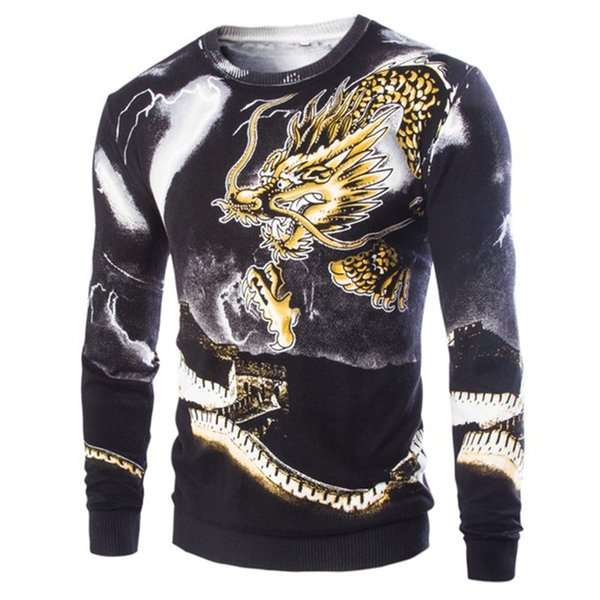 Wholesale-New Fashion Korean Style 2016 High Quality Male Dragon Pattern Printing Pullover Men's Fashion Casual Sweater 2Color M-XXL