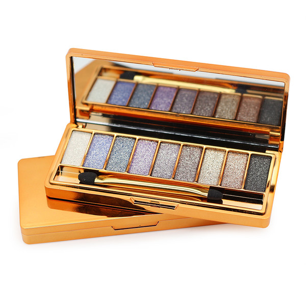 Professional 9 Colors Diamond Bright Colorful Makeup Eye Shadow Super Make Up Set Flash Glitter Eye shadow Palette With Brush WB0250
