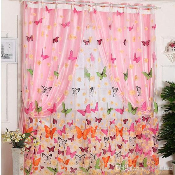 1pc farfalla stampa pannello tenda pura finestra balcone tulle camera divisorio tende trasparenti E00610 SPDH