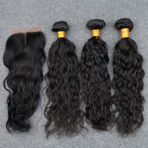 Faisceaux de cheveux de vague de cheveux de vague de vague de l'eau péruvienne de produits de cheveux de Slove avec la fermeture de soie humide et ondulée fermeture de soie péruvienne avec des paquets