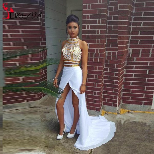 fd10ba887c4b5 Sexy White And Gold African Prom Dresses 2017 Mermaid Two Piece High Slit  Chiffon Women Formal Evening Party Gowns Real Picture Evening Long Dresses  ...