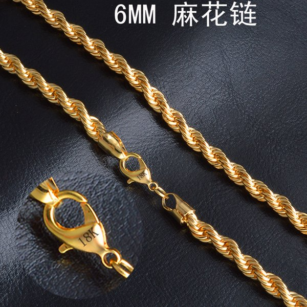 "6 mm*20"" Twist chain 18k gold plated necklace fashion personality sautoir Man/woman gold couples necklace 2pcs/lot retail"