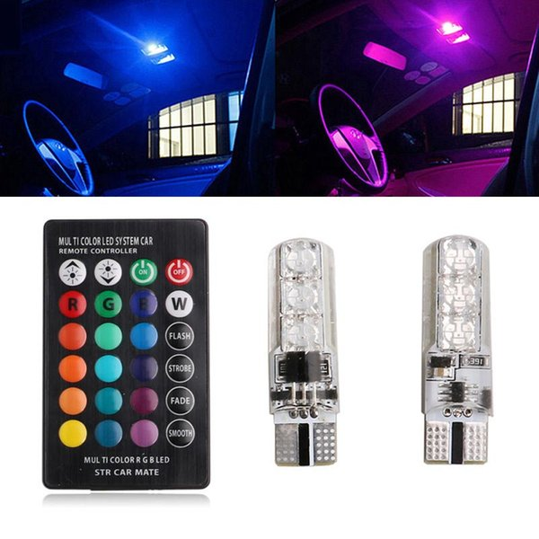 top popular 3x Coluorful car led light t10 6 SMD 5050 RGB 16 Color LED W5W automotive led bulb flash strobe Remote Controller Show Wedge Lights 2019