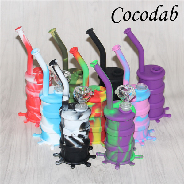 Hot Sale Silicon Rigs Waterpipe Silicone Hookah Bongs Silicon Dab Rigs Cool Shape 8.5'' silicone bubblers good quality and free shipping DHL