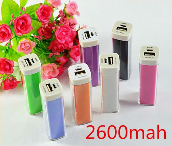 top popular 100pcs Free Shipping High Quality Factory Supply 9 Colors 2600 mAh Universal Portable Mobile Power Bank Supply 2019