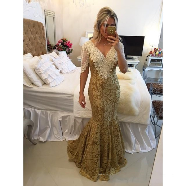 Gold Lace Mermaid Evening Dresses 2018 V Neck Pearl Long Formal Prom Dresses With Sleeves Sexy Backless Evening Party Gowns Custom Dresses