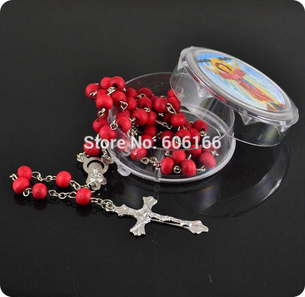 12 STÜCKE Zufällige Farbe Rose Duftenden Parfüm Holz Rosenkranz Inri Jesus Kreuz Anhänger Halskette Katholischen Religiösen Schmuck Weihnachtsgeschenk