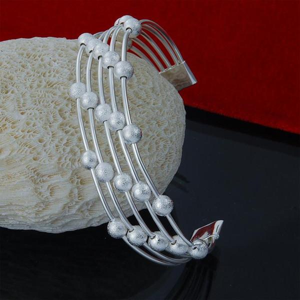 Fabrika doğrudan toptan 925 Gümüş manşet Bileklik Bileklik 5 satır Boncuk Moda Gümüş Bilezik buzlu