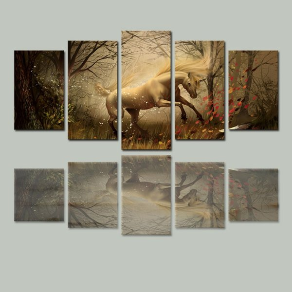 5 Panels Canvas Wall Art Dream Horse Pictures Paint on Canvas Painting for Home Living Room Kitchen Decorative (No Frame)