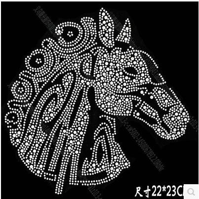 New DIY 22*23cm horse head bling crystal patterns clothing accessories Hot Fix Rhinestones motif Heat Transfer on Design Iron On clothes