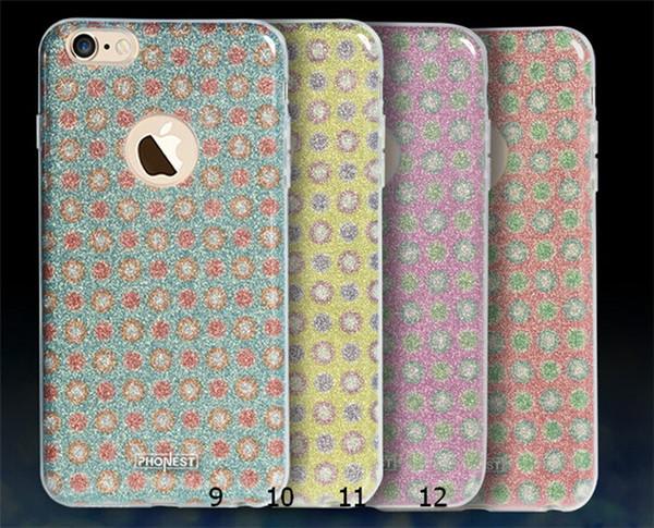 3 in 1 Glitter Çiçek Telefon Kılıfı Için iPhone 6 6 s artı TPU + PC + GLITTER FILM Desenler Arka Kapak Kılıf