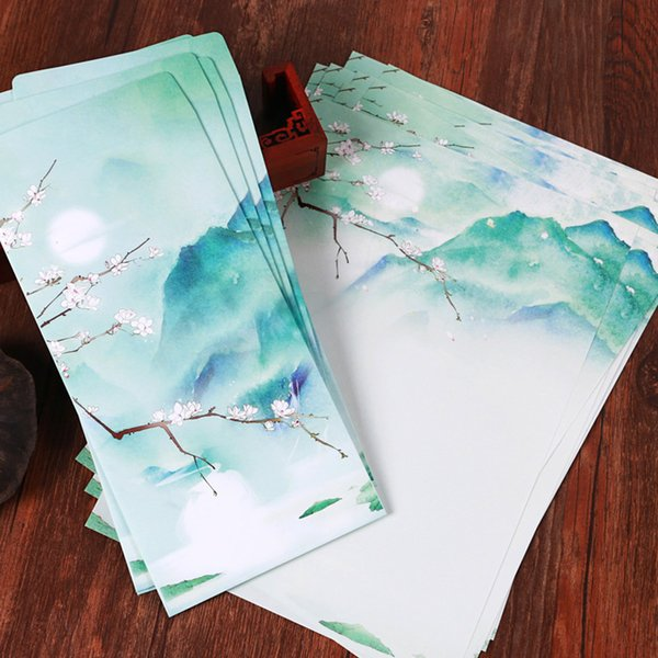 Wholesale- Original Design Chinese Style Moon Wintersweet Mountain Scenery Envelope Writing Paper Set For Card Scrapbooking Gift 15pcs/lot