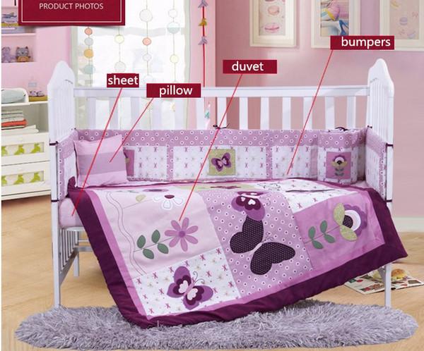 4PCS Embroidery baby bedding set baby sheet Cot Crib Bedding,include(bumper+duvet+sheet+pillow)