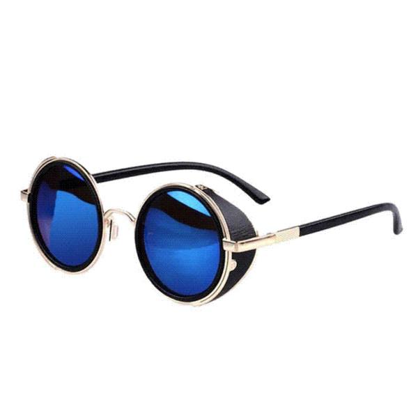 Kimisohand 2015 Yeni Varış Moda Ayna Lens Yuvarlak Gözlük Cyber Gözlük Steampunk Güneş Vintage Retro Ücretsiz Kargo