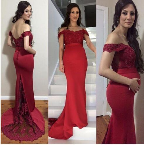 Gorgeous 2016 Dark Red Latest Pregnant Evening Dresses Mermaid Style Sexy Off Shoulder Backless Illusion Lack Train Long Formal Gowns EN4283