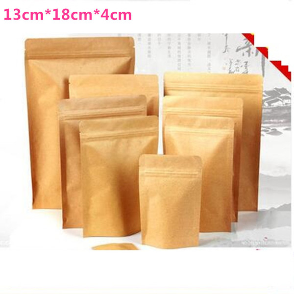 13cm*18cm+3cm Kraft paper packaging bag Valve bag standing pouch food packing tea packing free shipping wholesales 200pcs