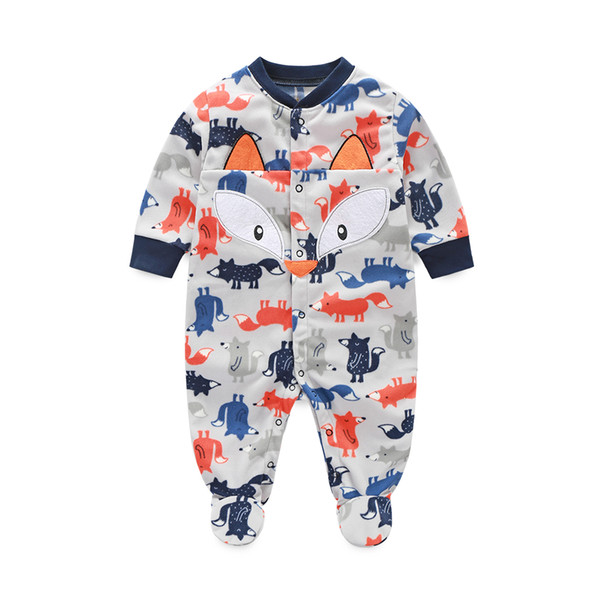 Grey Fox Baby Boys Clothes Rompers Pajamas Newborn Clothing Shirt Footcover Romper Infant Jumpsuits Wholesale 80pcs/lot