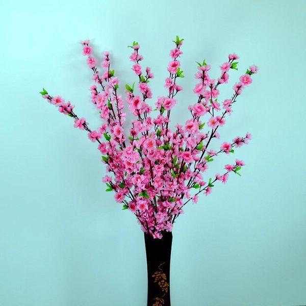 Newest Elegant Peach Blossom Silk Flowers Artificial Peach Branches Christmas Ornament Bouquet Wedding Centerpieces Decorations Supplies