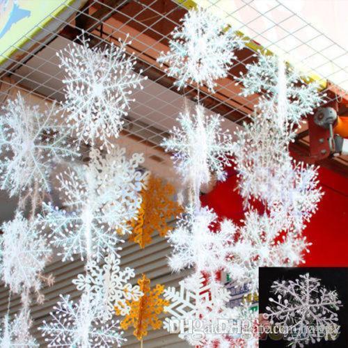 En plastique fil dessin flocons de neige arbre de noël décoré arbre de noël ornements flocon de neige de Noël trois blanc flocon de neige ornements fête