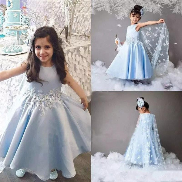 2017 Light Sky Blue Flower Girls Dresses For Weddings With Wraps Lace Appliques Sashes Satin Girls Pageant Gowns Custom Kids Party Dress