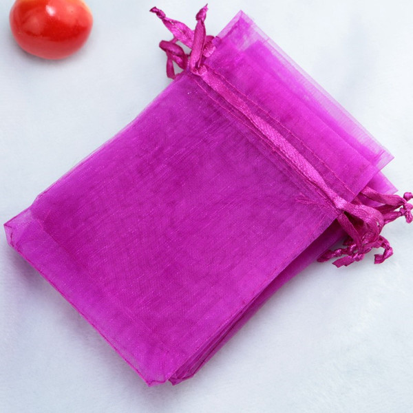 Solid Fuchsia Organza Drawstring Pouches Jewelry Party Small Wedding Favor Gift Bags Packaging Gift Candy Wrap Square 5 X7cm 2X2.75'' 100pcs