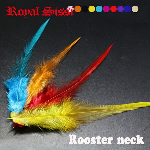 100pcs/lot 10colors mix rooster neck hackle for streamer&dry flies making fly fishing lures/ hybrid colors sellar hackle feather