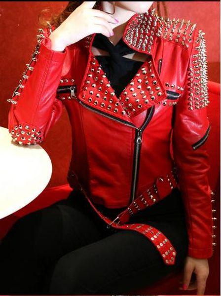Großhandel Großhandels Roter Lederner Mantel Frauen Rock Punk Rivet Verzierte Motorrad Lederne Spiked Lederjacke Veste En Cuir Femme Cazadora Cuero