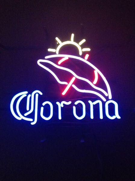 Luci Al Neon Per Ufficio.Acquista 17 X14 Corona Sole Ombrello Beach Birreria Bar Bar Negozio Real Glass Luce Al Neon Iscriviti Tavern Display Wall Lighting A 84 59 Dal