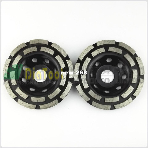 """best selling 2PK Diamond double row Grinding Cup Wheel for granite and hard material, Diameter 4.5"""" 115mm, bore 22.23mm with 16mm washer"""